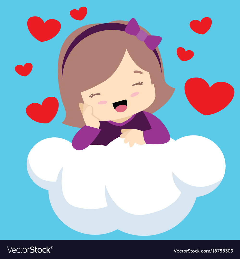 Cute girl with eyes closed on cloud valentines