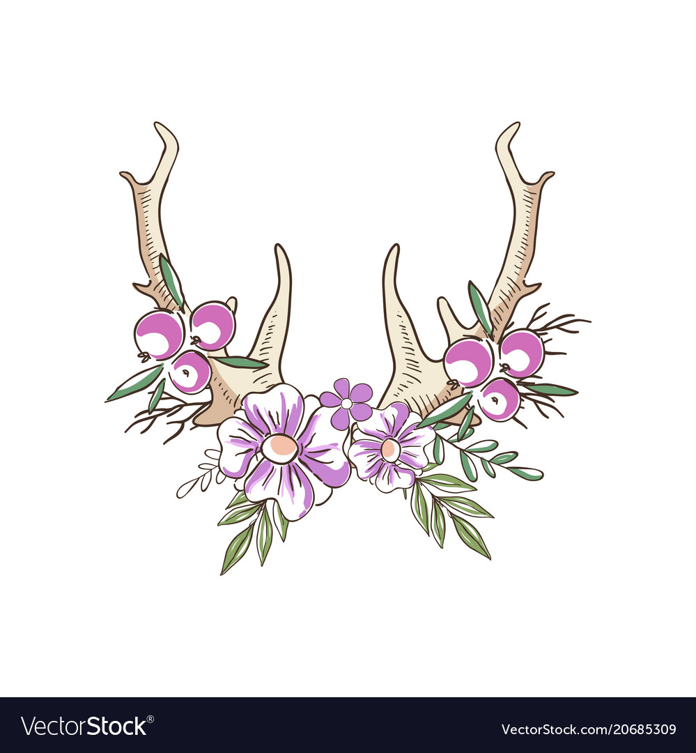 Deer horns with pink flowers and berries hand