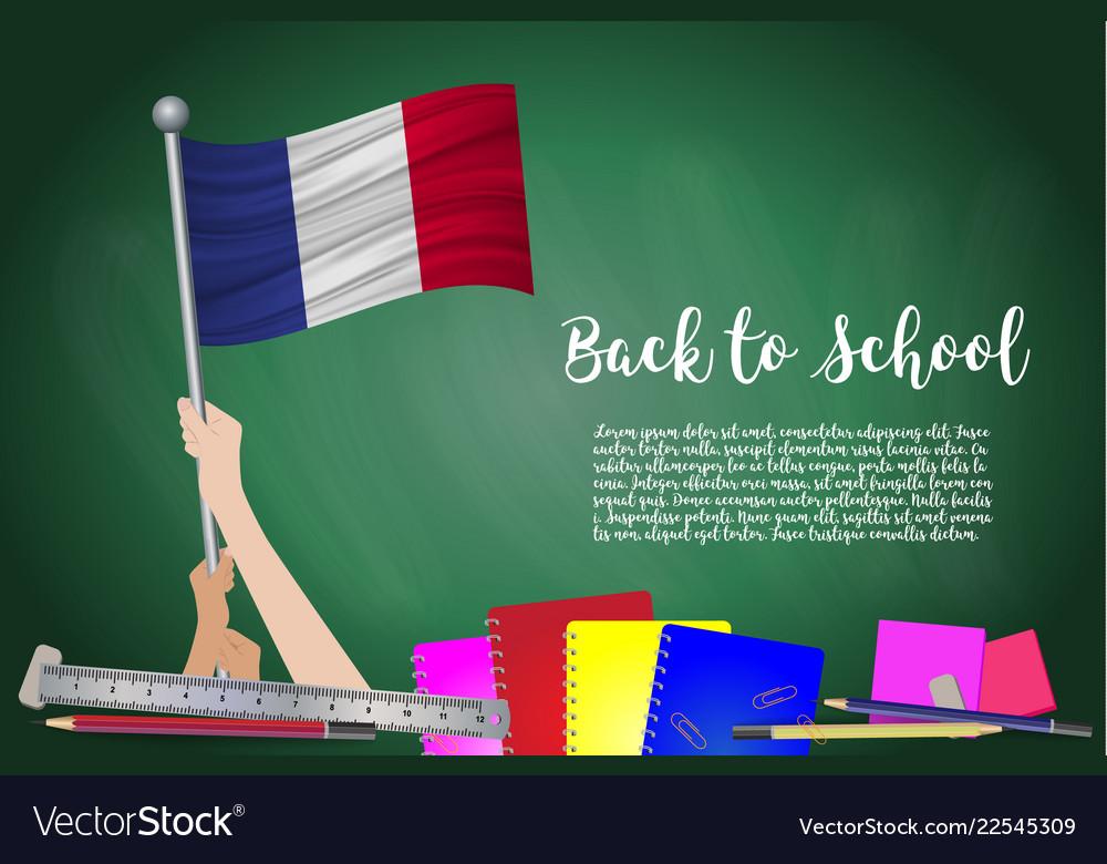 Flag of france on black chalkboard background