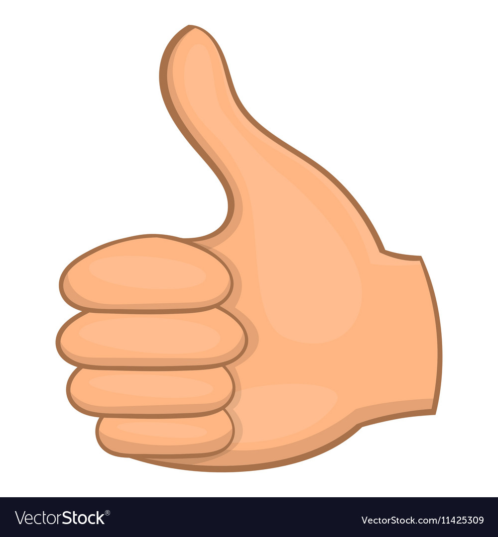 Hand showing thumbs up icon cartoon style vector image