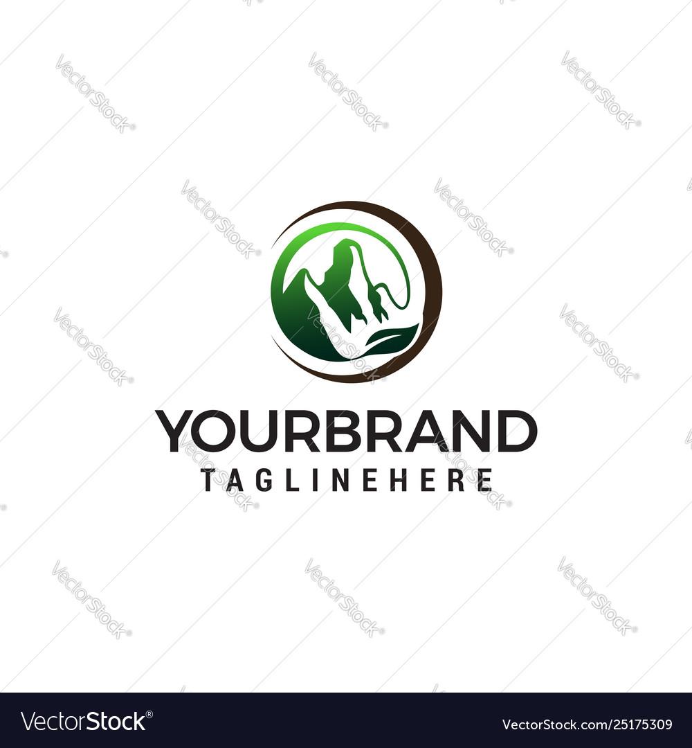 Leaf mountains logo design concept template