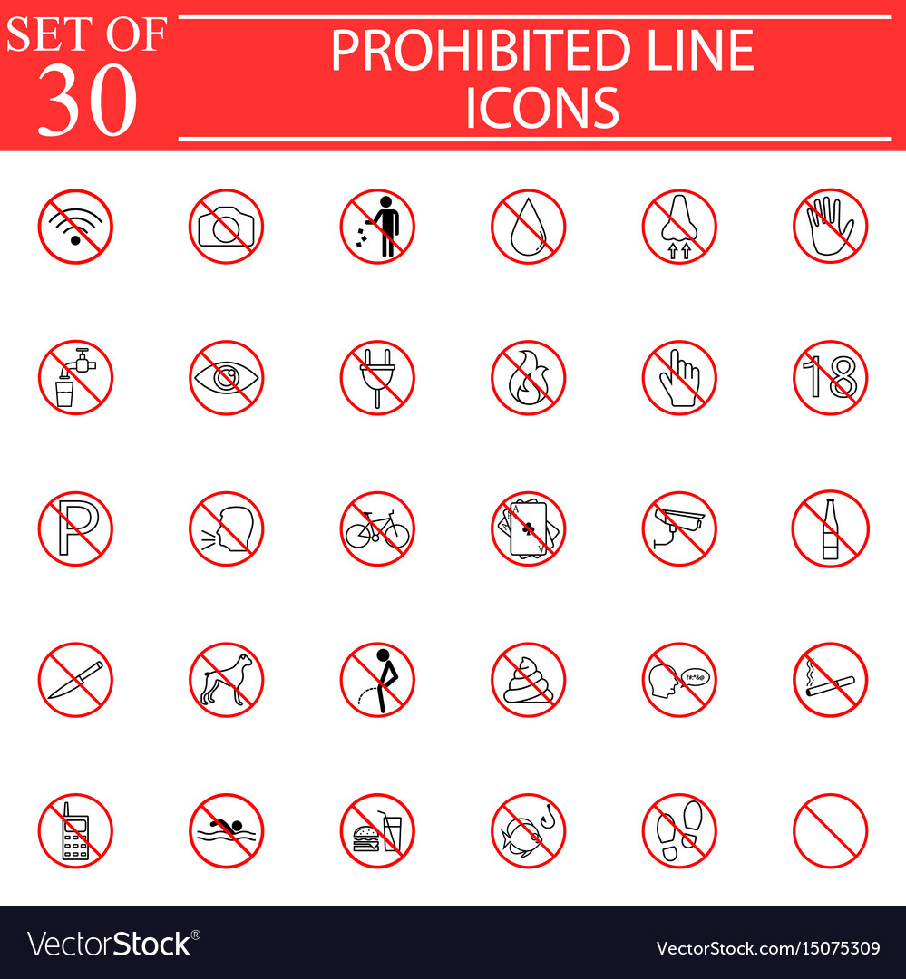 Prohibited signs line icon set forbidden symbols