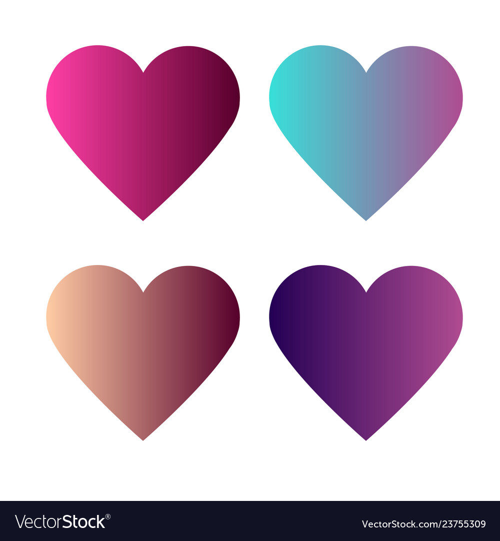 Set of 4 heart with colorful gradients