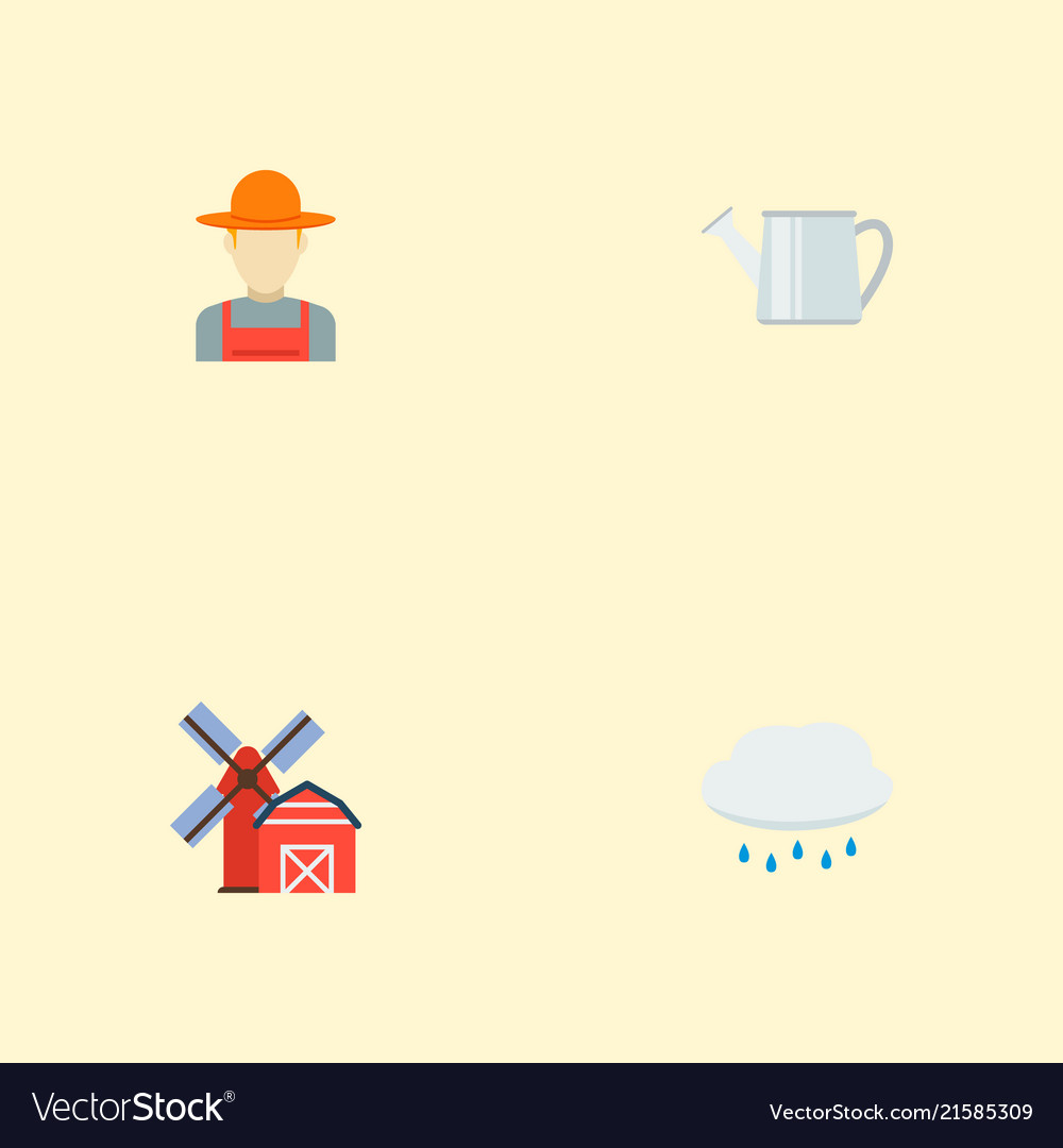 Set of agricultural icons flat style symbols with