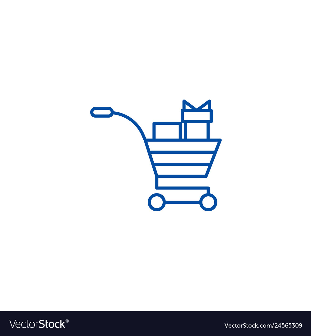Shopping cart with gifts line icon concept