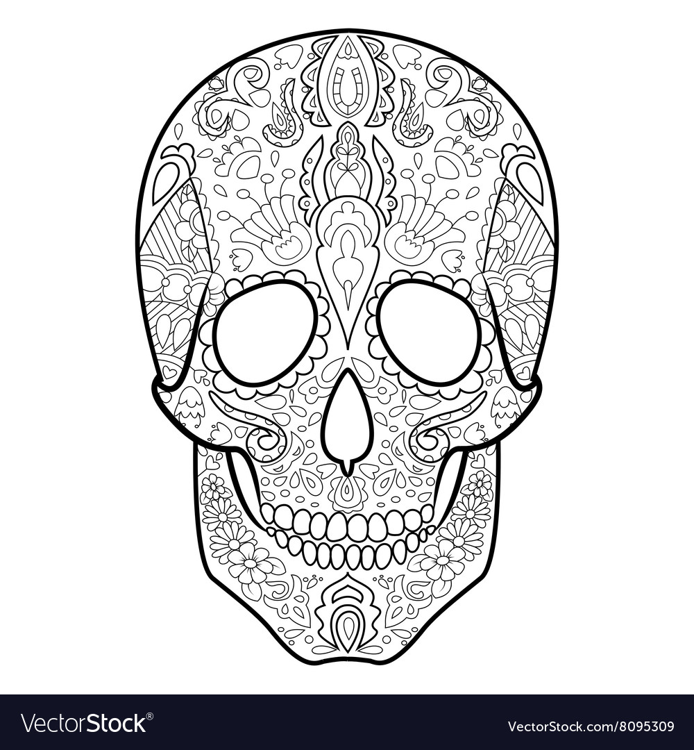 - Skull Coloring Book For Adults Royalty Free Vector Image