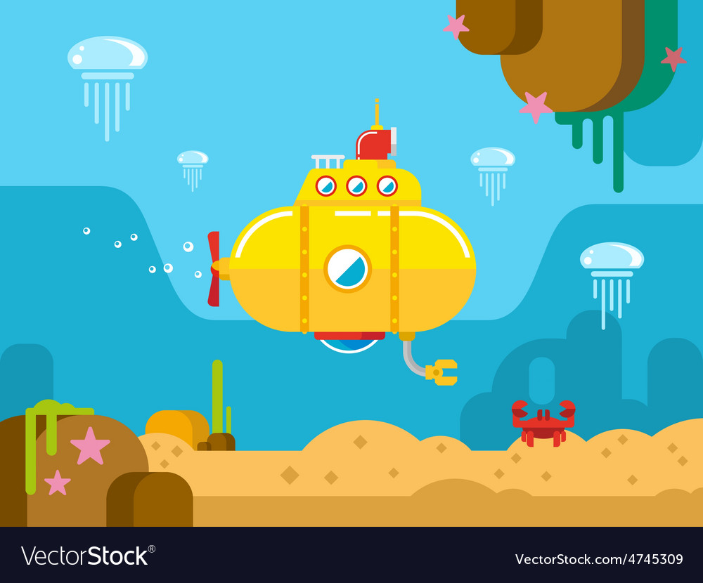 Submarine Under Water Flat