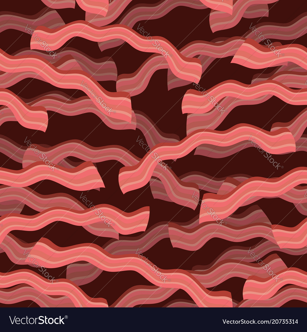 Bacon roasted seamless pattern thin piece of meat