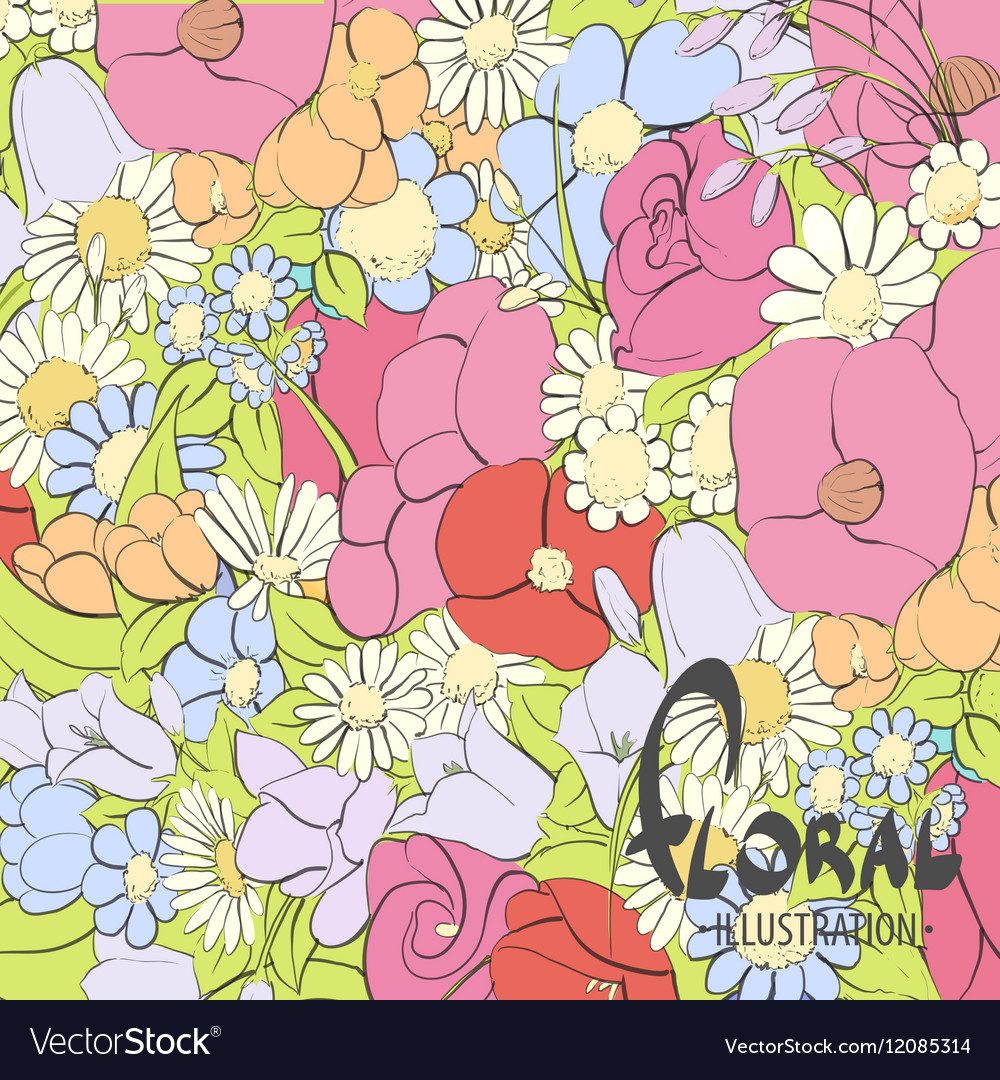 Beautiful Summer Flowers Royalty Free Vector Image