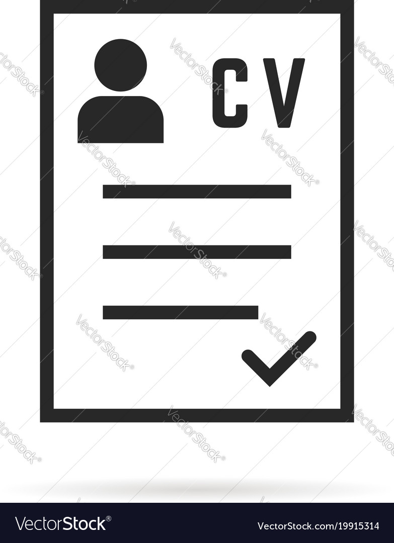 Black Thin Line Cv Icon Or Curriculum Vitae Vector Image