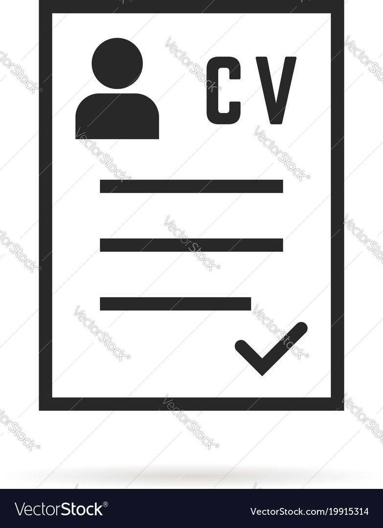 Black thin line cv icon or curriculum vitae