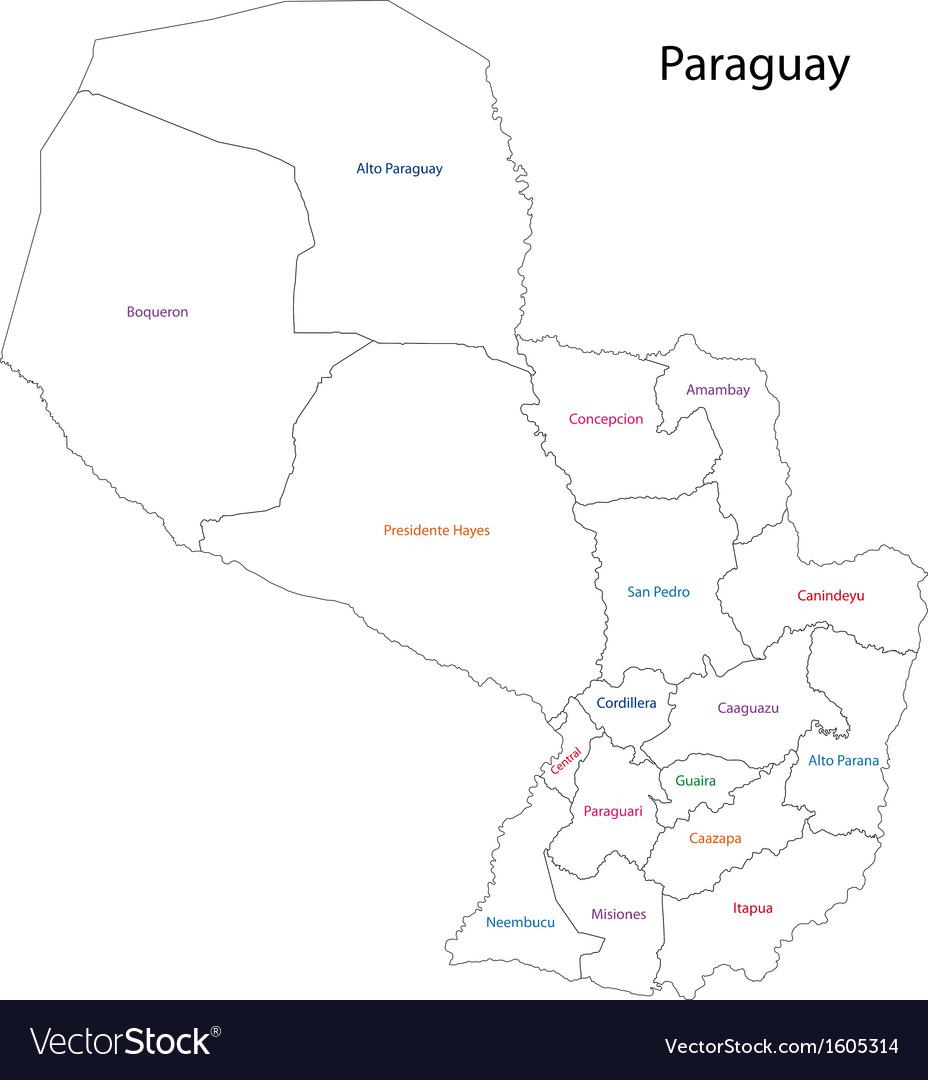 Contour Paraguay map