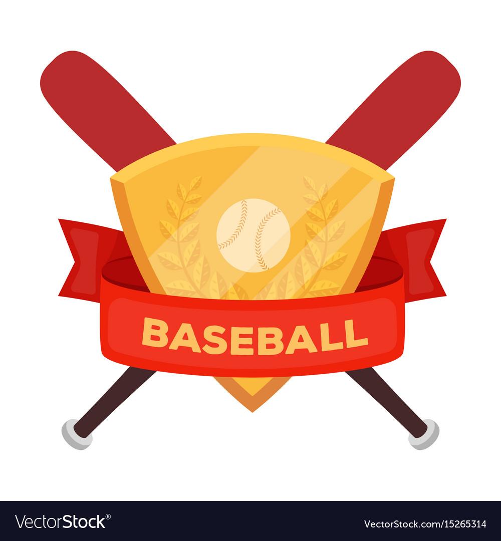 Emblem baseball single icon in cartoon style