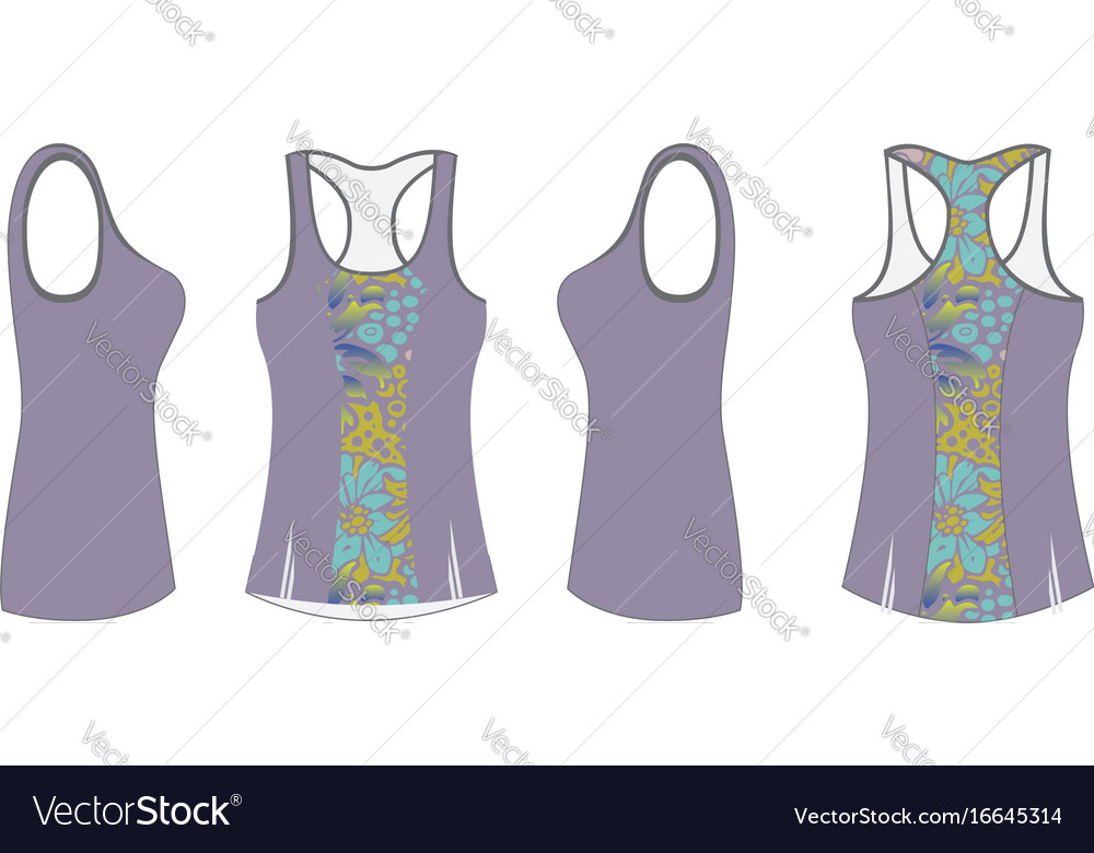 Ladies Printed Sport Tank Top Template Royalty Free Vector