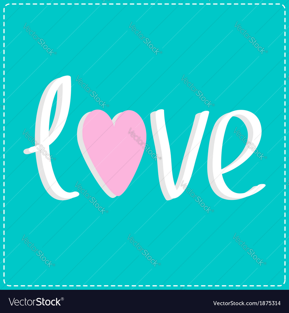 Love word with heart 3D text Card