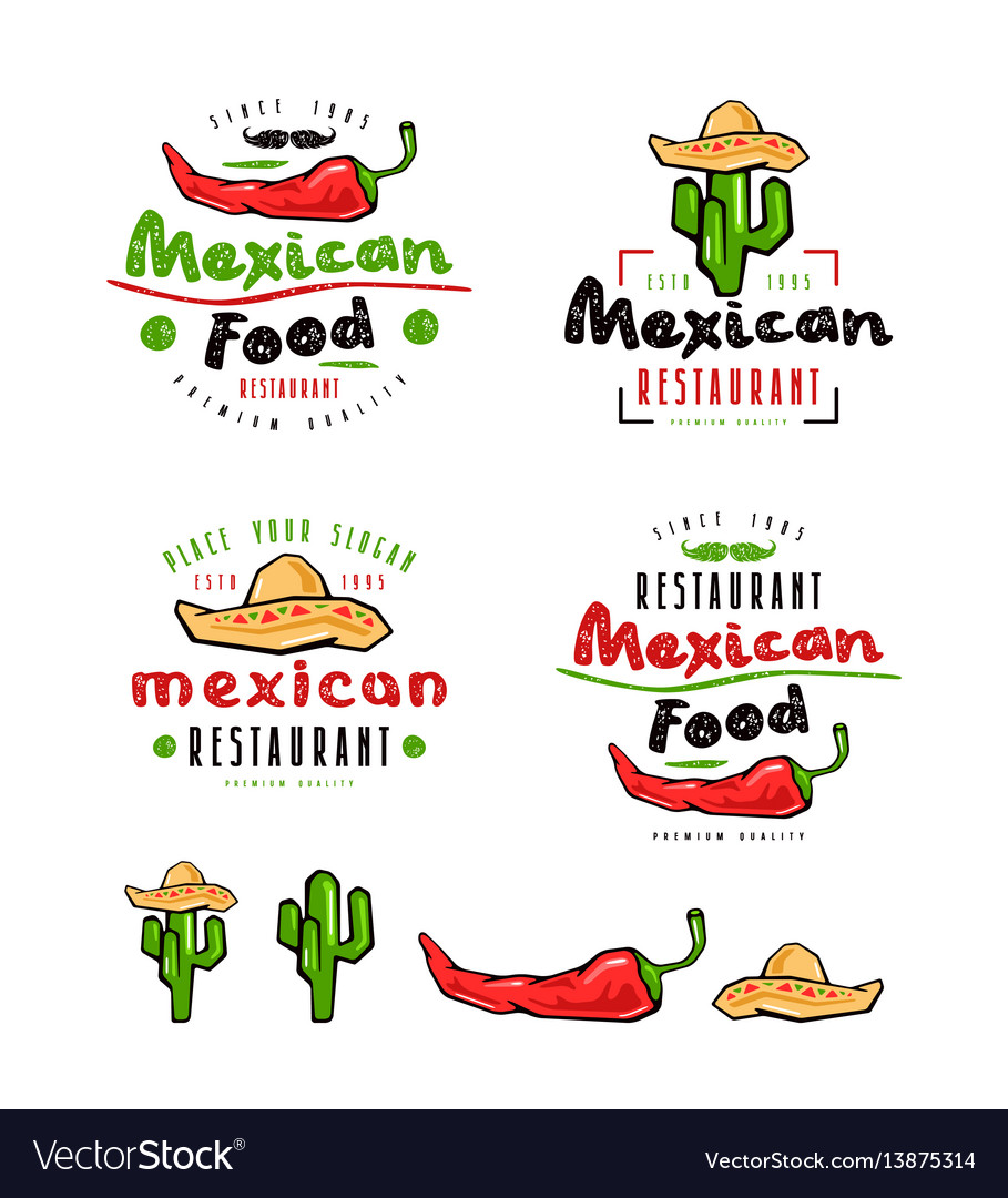 Mexican food labels badges and design elements vector image