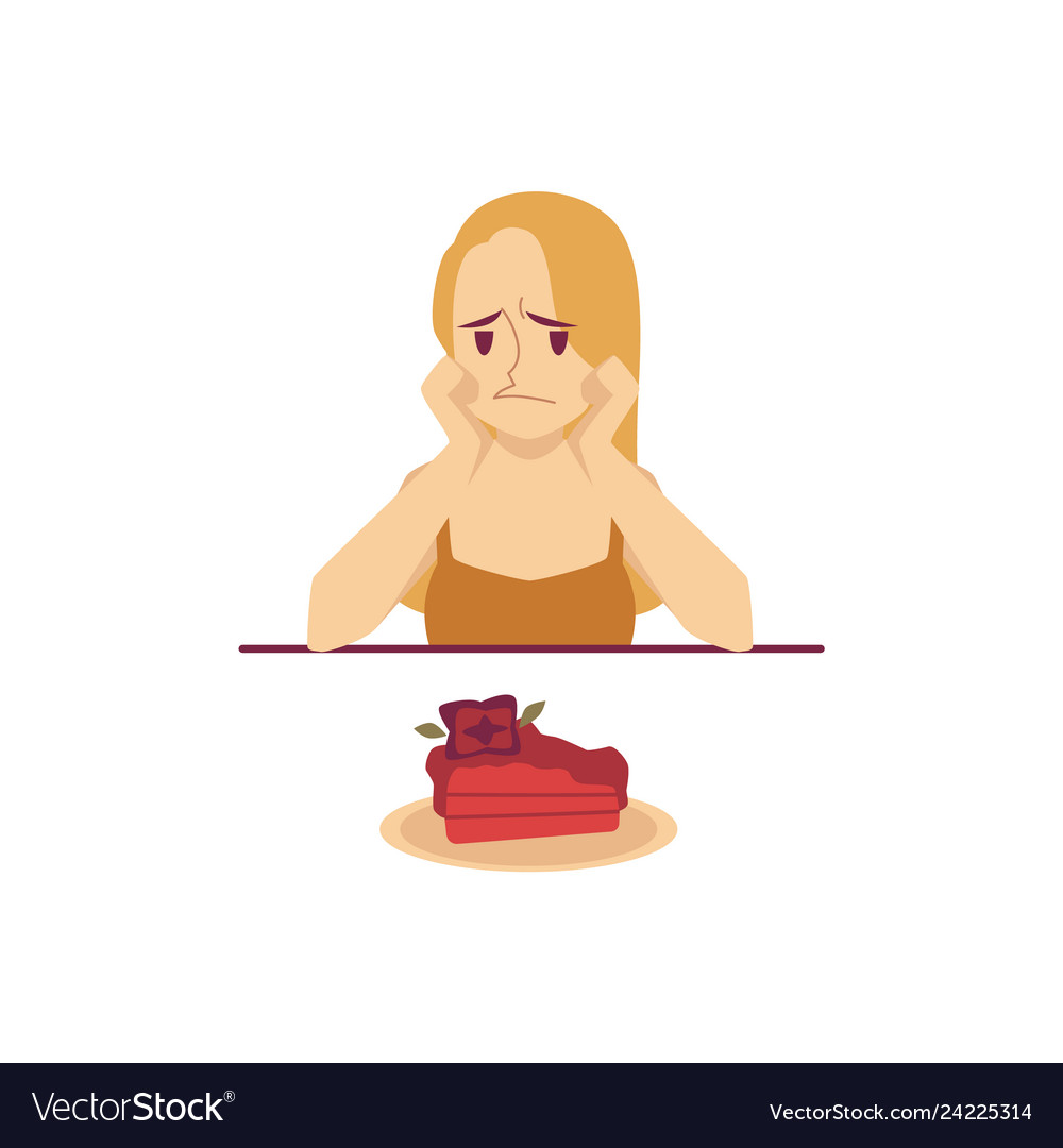 Sad woman sitting at table and looking at cake