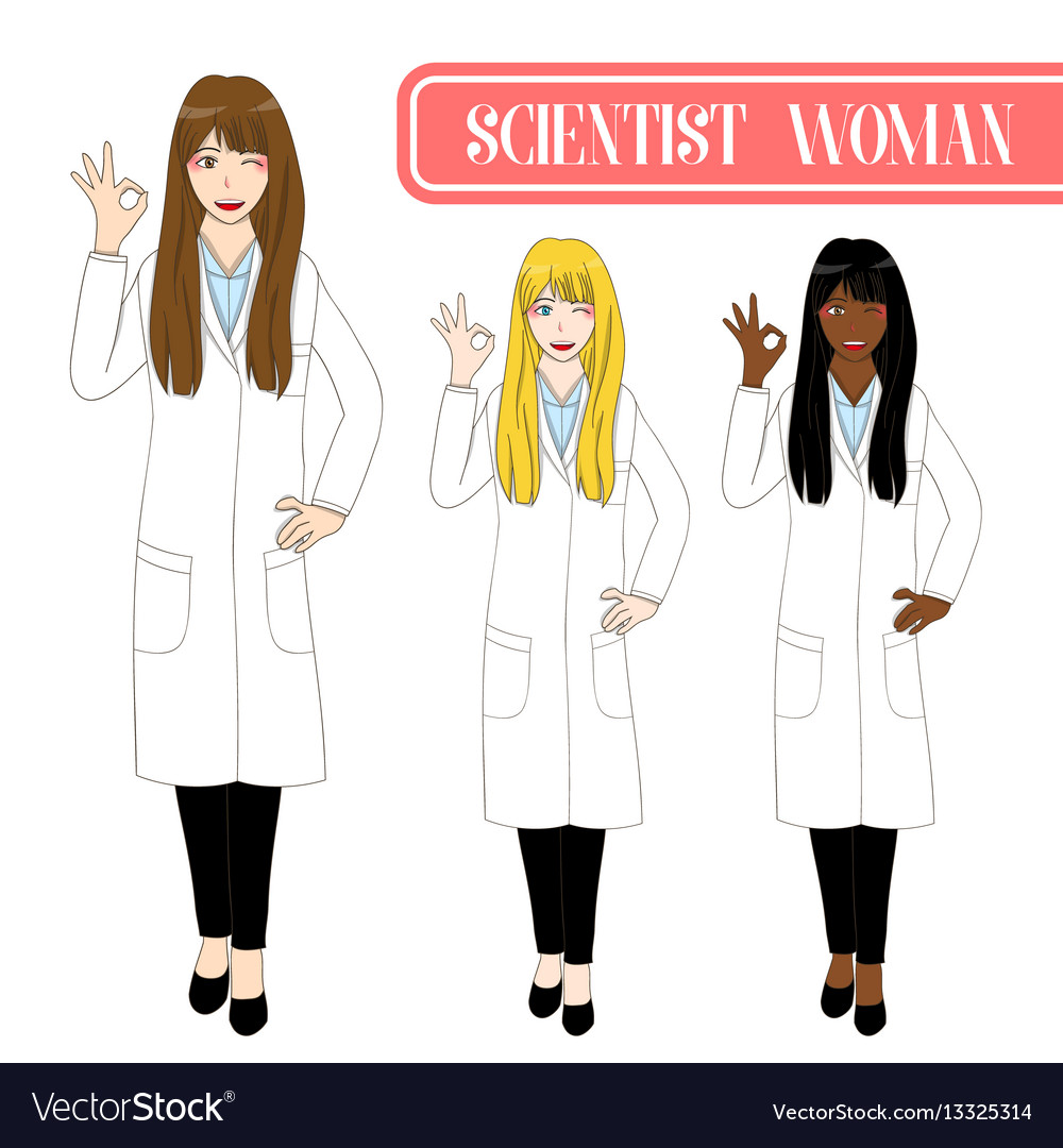 Scientist woman showing ok hand sign