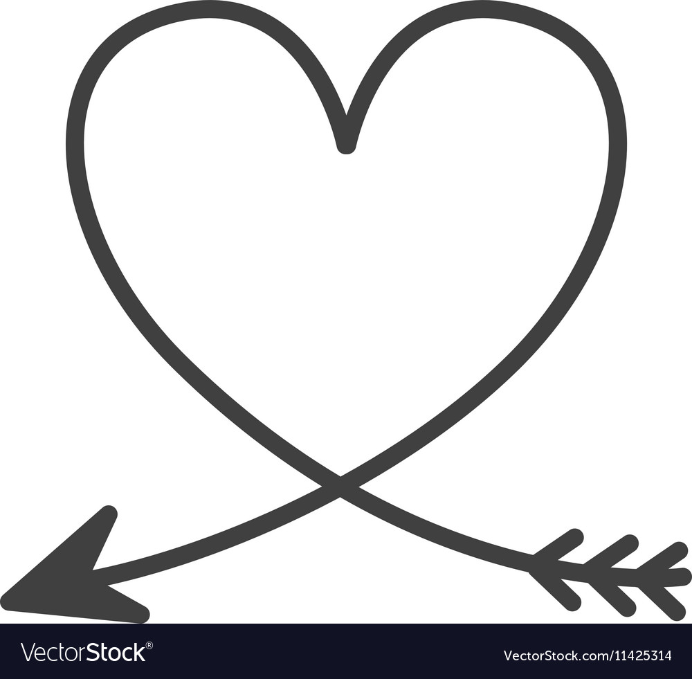 Silhouette of heart with arrow