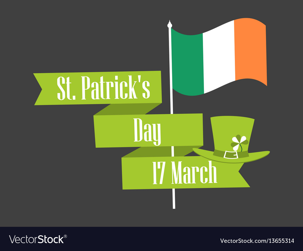 Stpatrick s day ribbon with text and flag