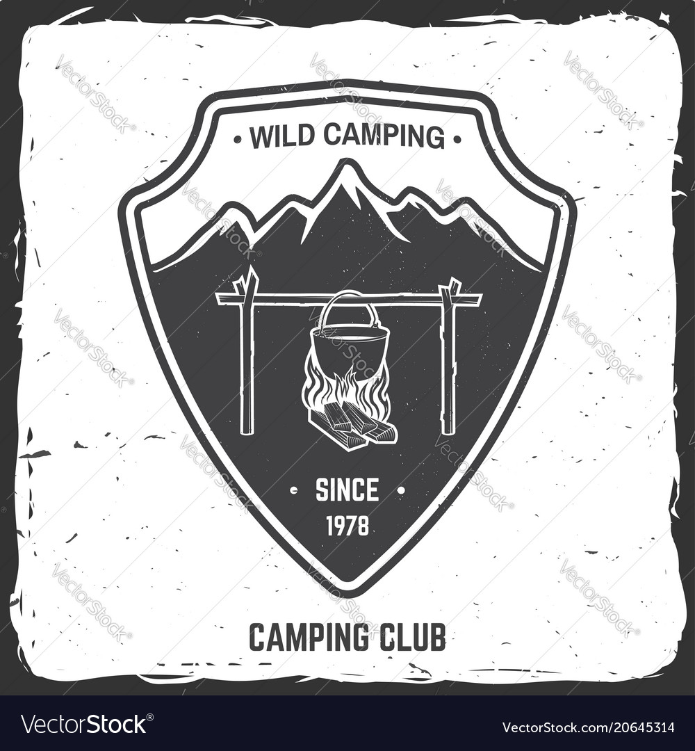 Wild camping badge vector image