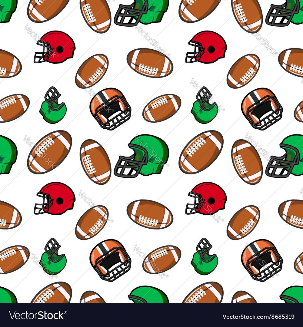 American football seamless pattern Rugby helmets