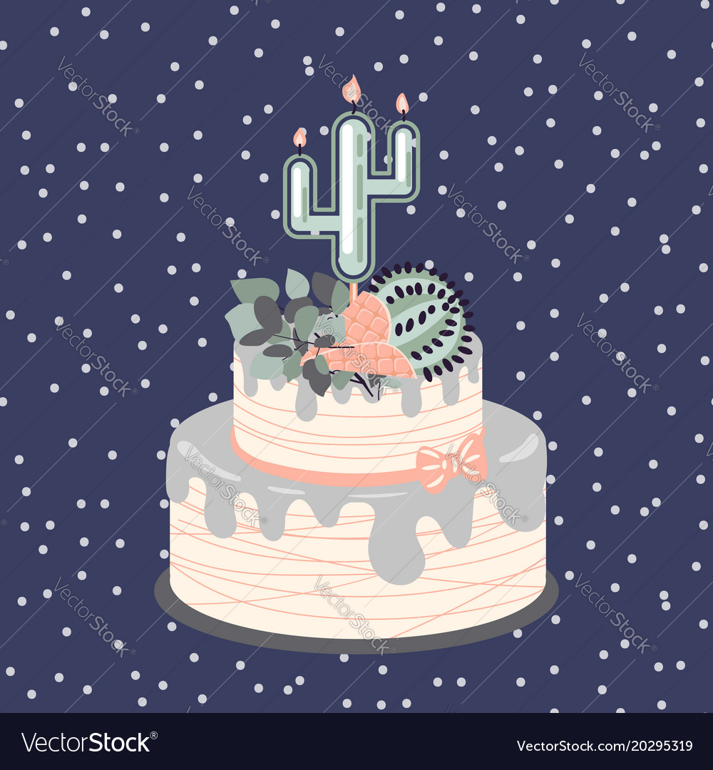 Birthday cacti cake with candle and flowers