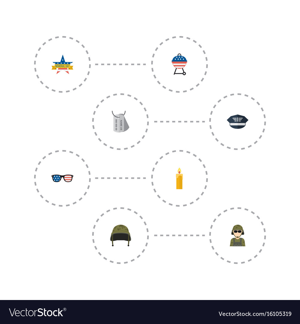Flat icons hat military man identity and other