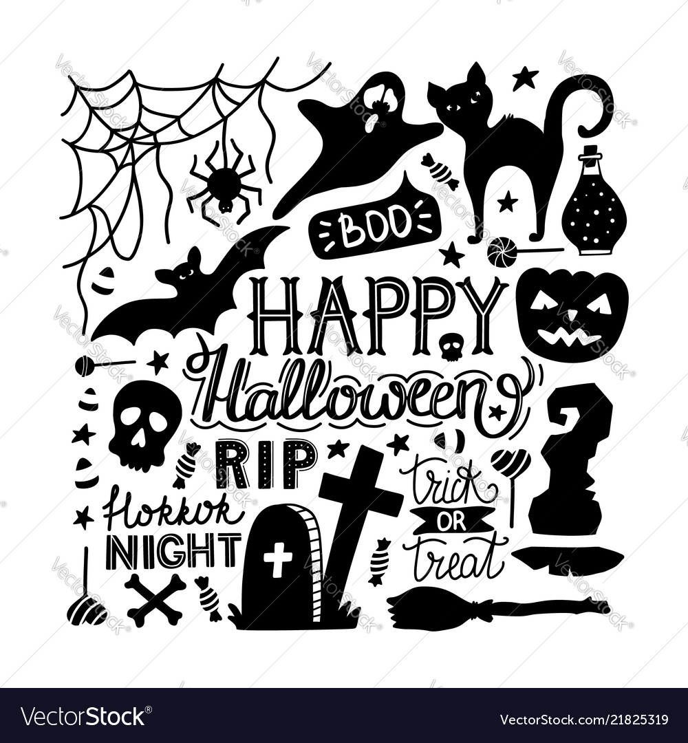 Hand drawn halloween doodles print with lettering