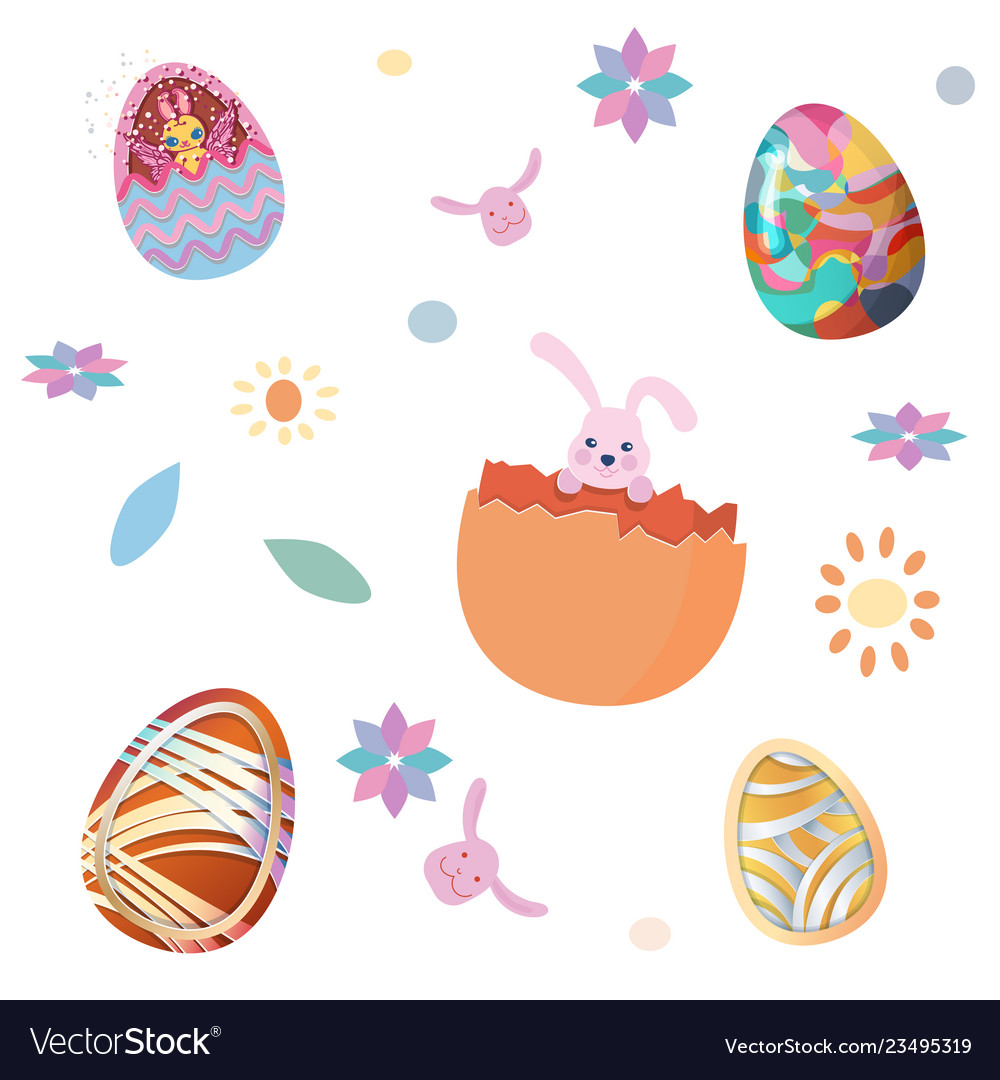 Happy easter seamless pattern set of easter eggs