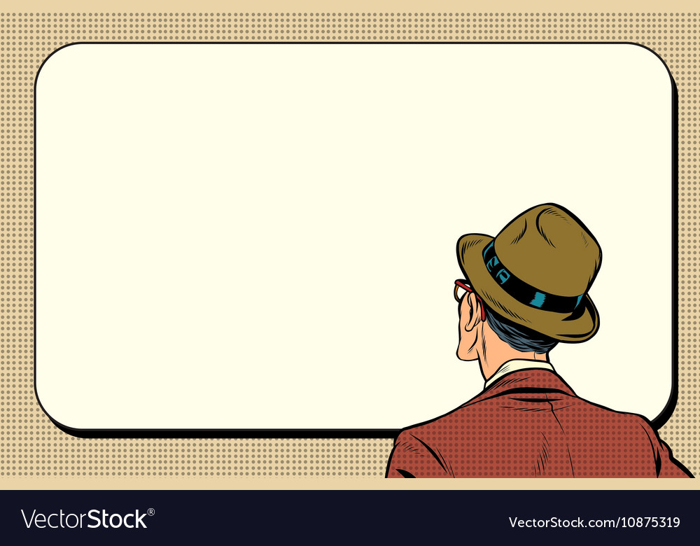Man standing back looking on white background