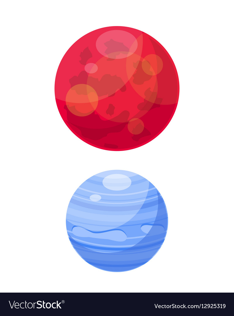 Mars and venera space planets flat vector image