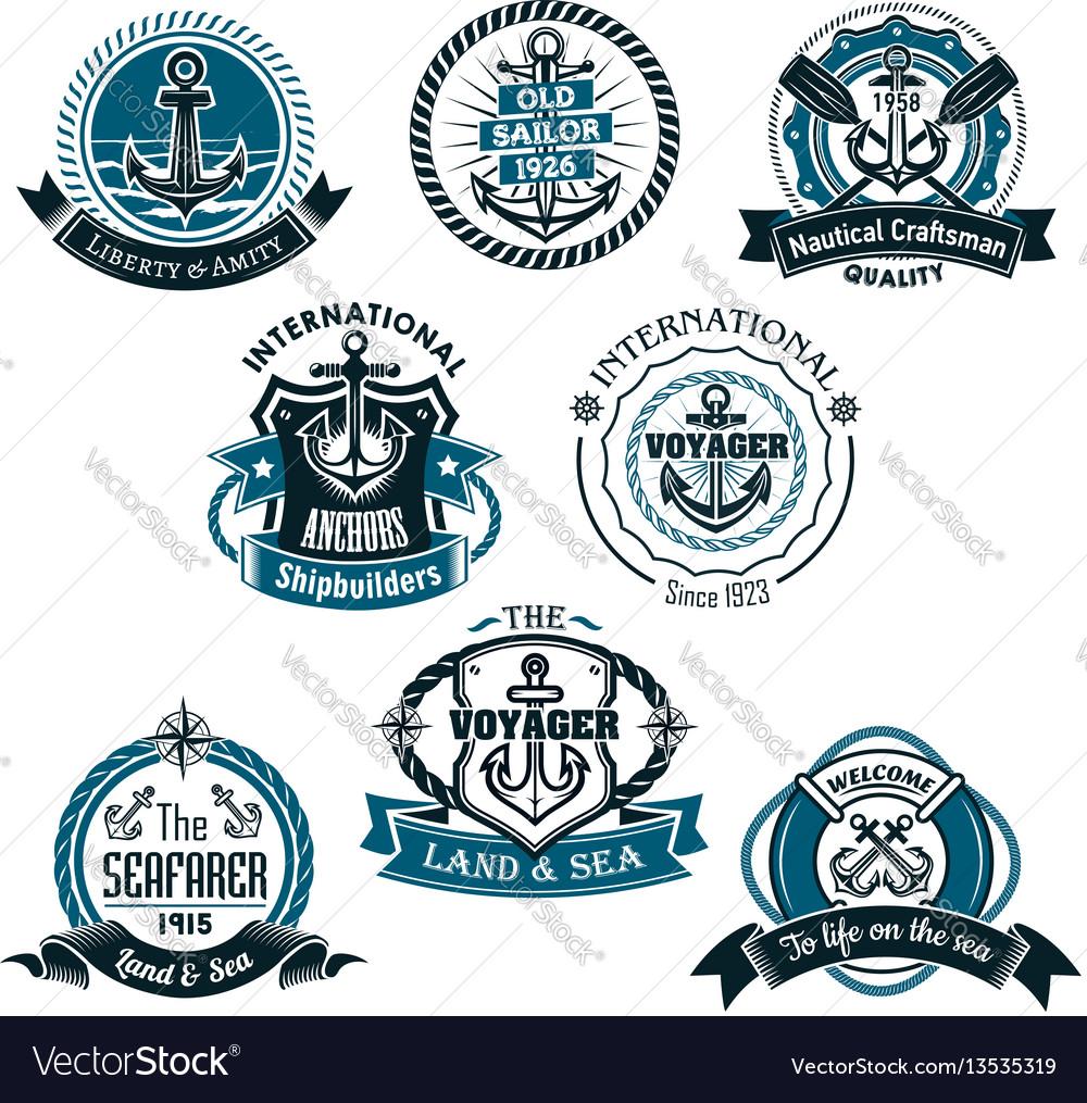 Nautical and marine icons set