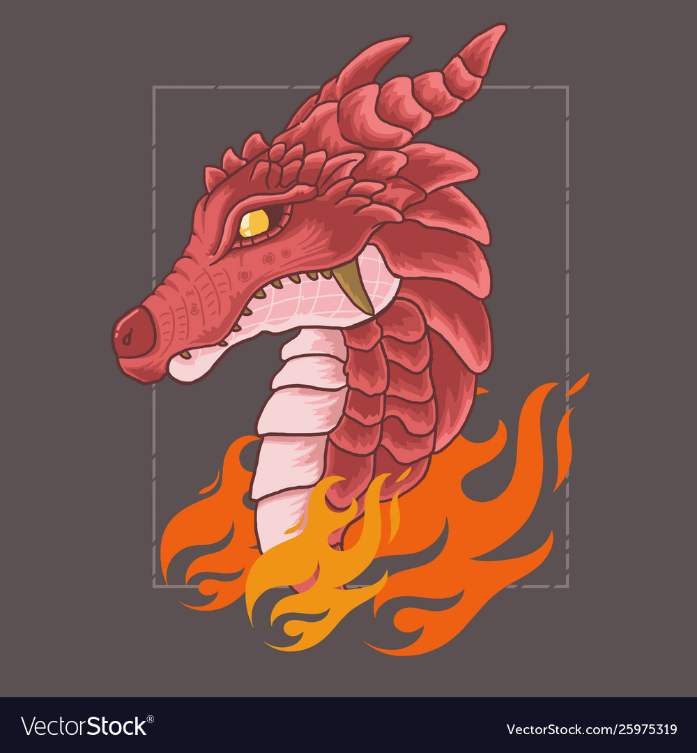 Red dragon head with angry face