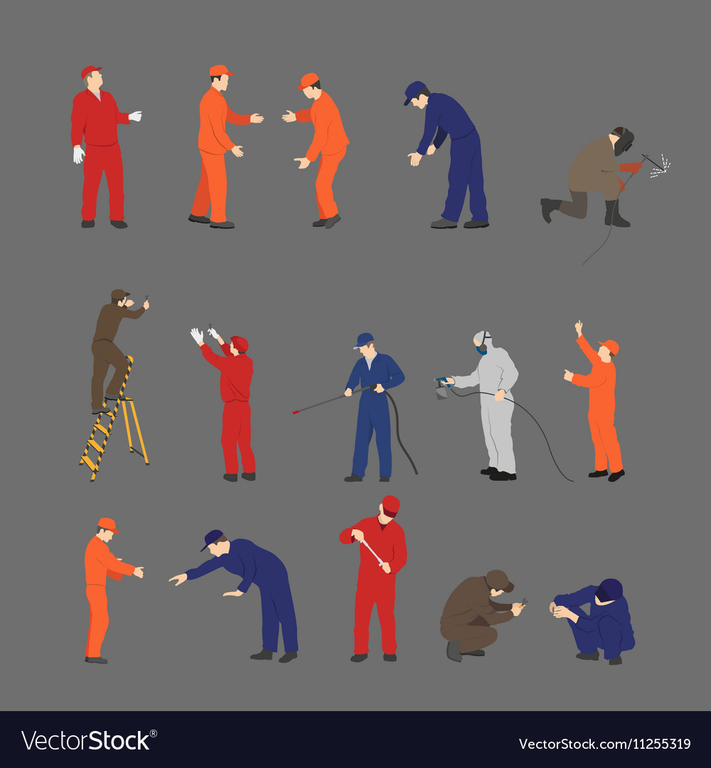 The workers in overalls in different poses