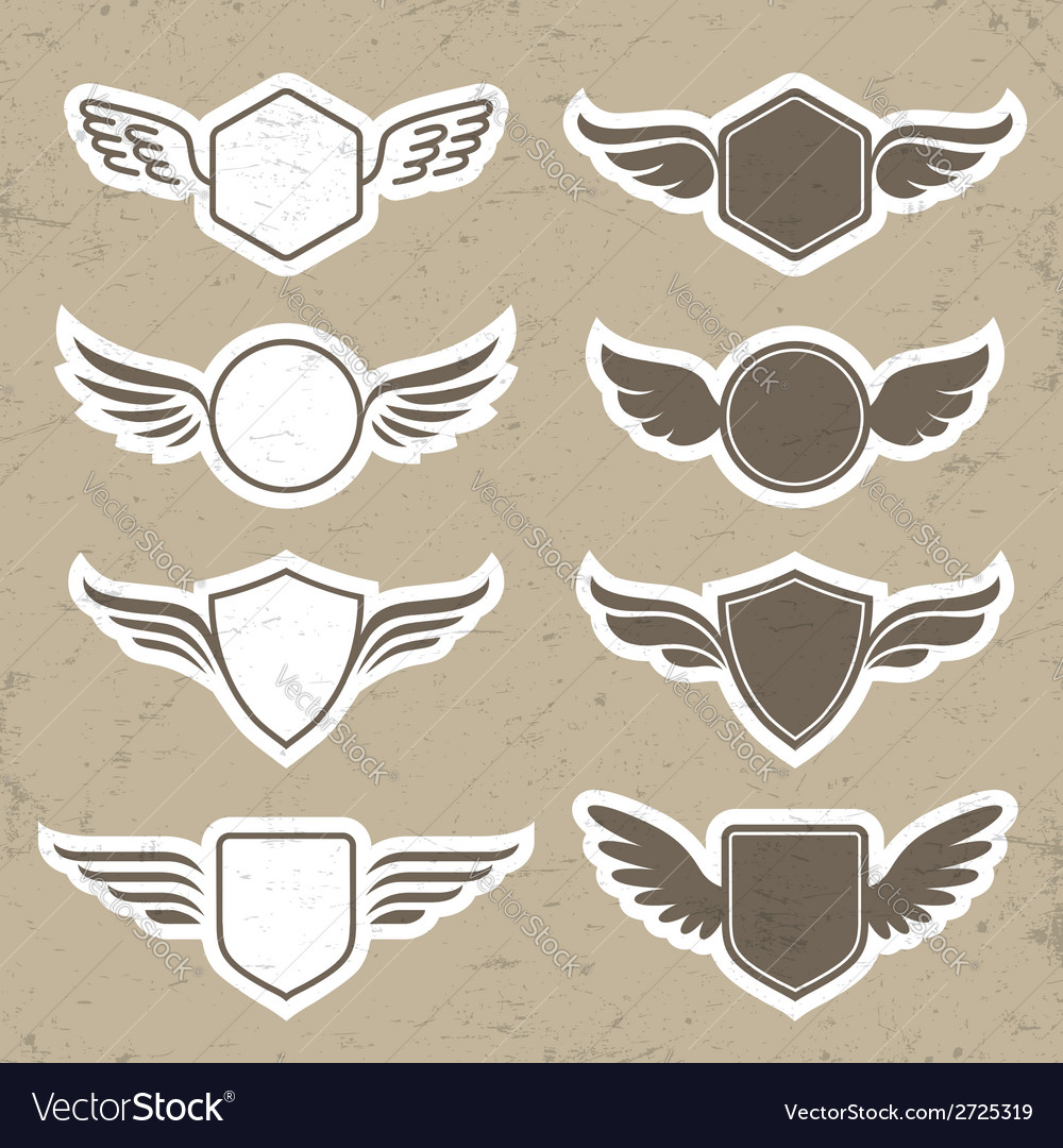 Vintage heraldic shapes with wings