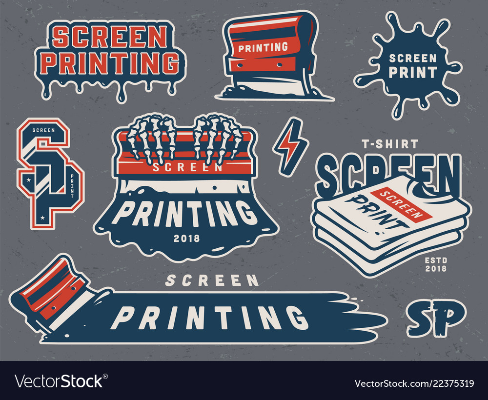 Vintage serigraphy colorful elements collection