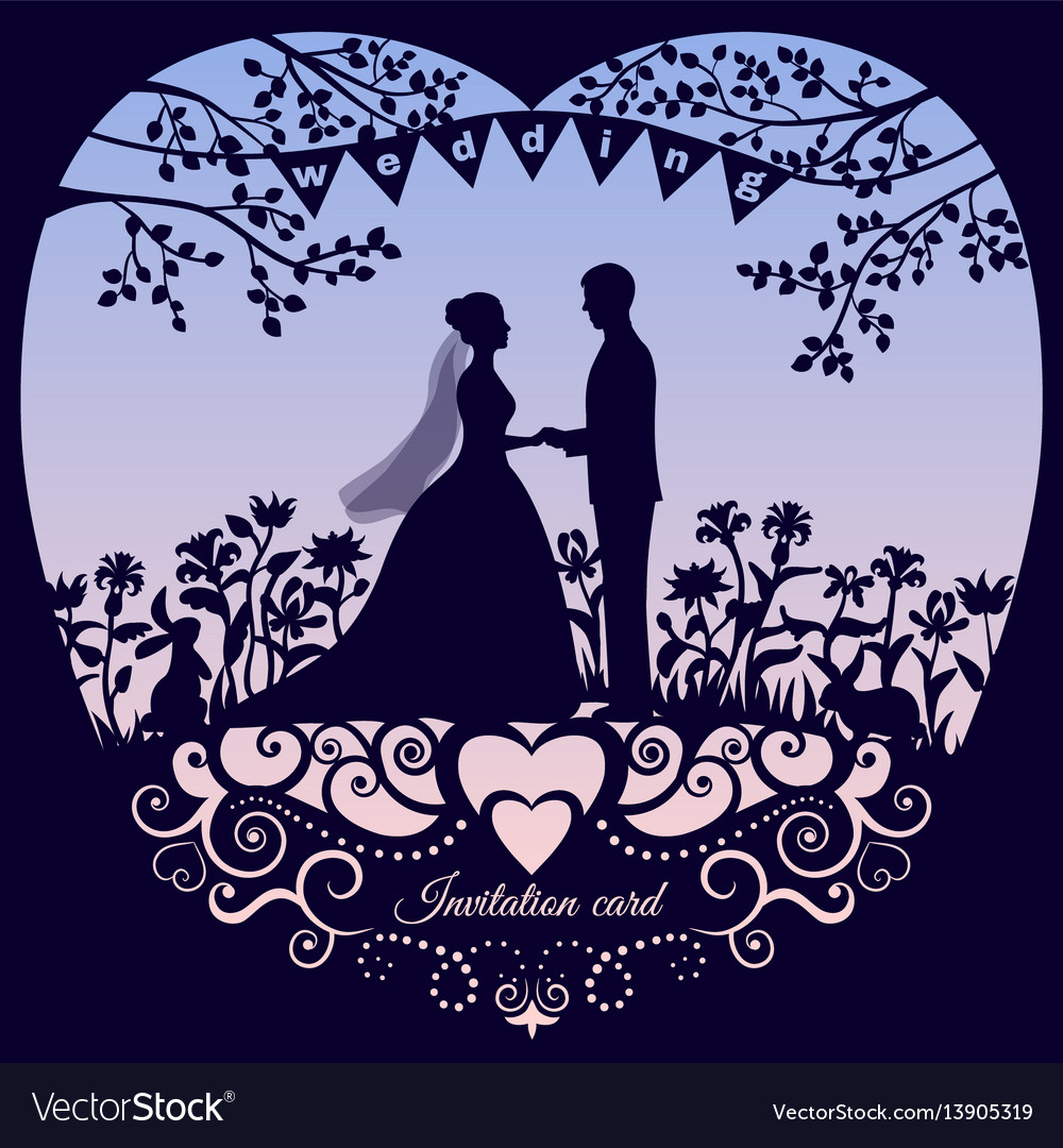 Wedding romantic invitation card with silhouette