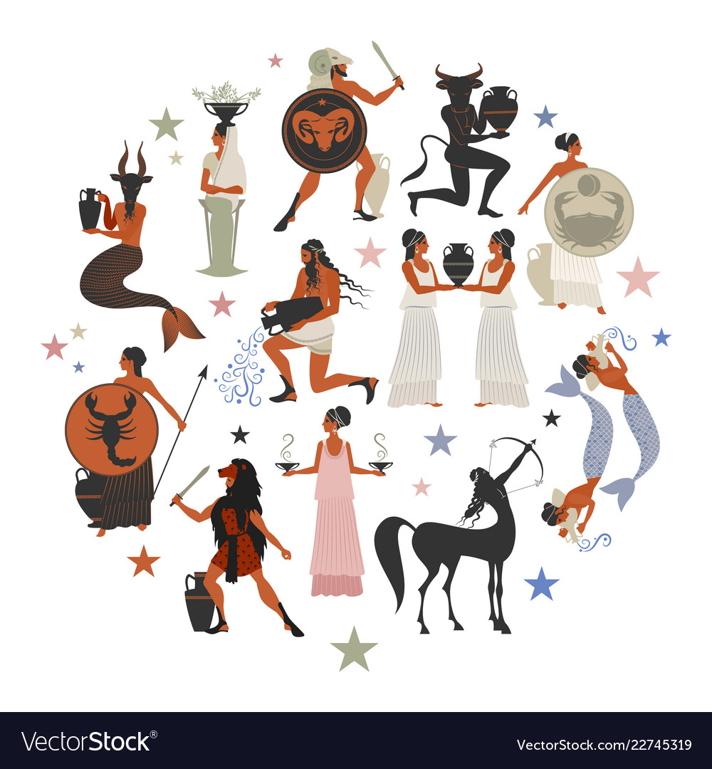 Zodiac signs style mythology of ancient greece