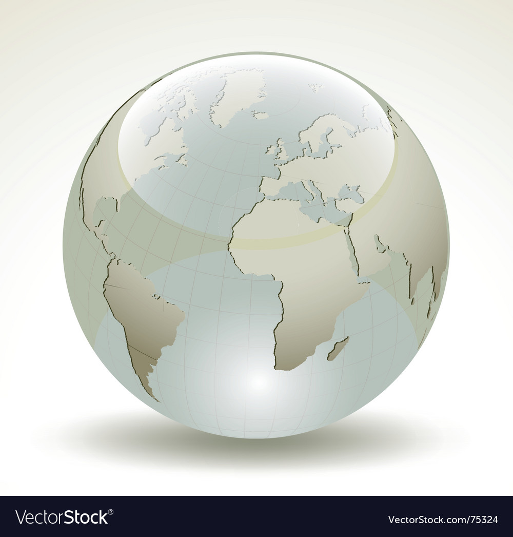 3d earth glossy sphere vector image