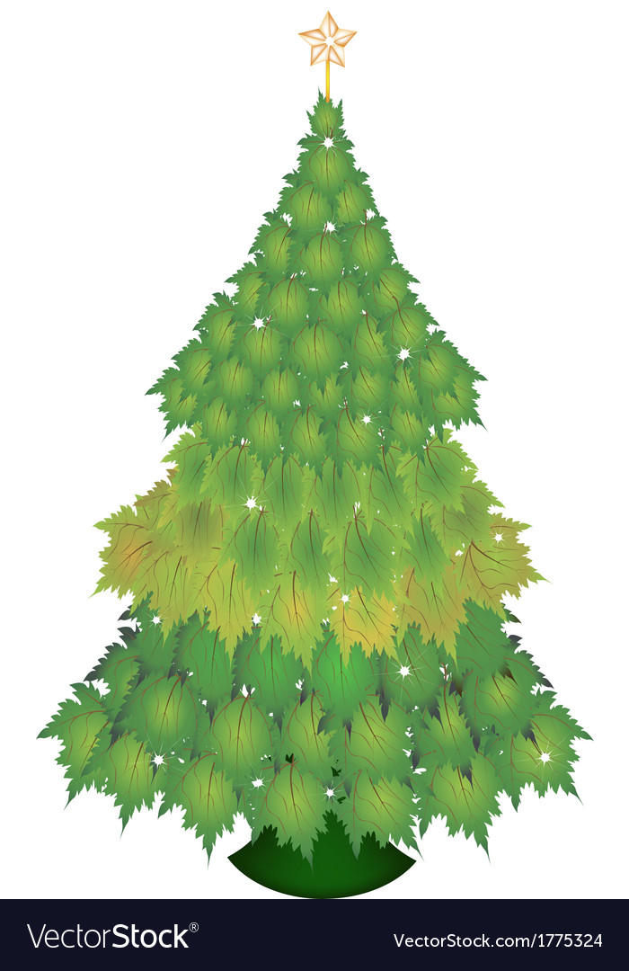 A Christmas Tree of Green Maple Leaves vector image