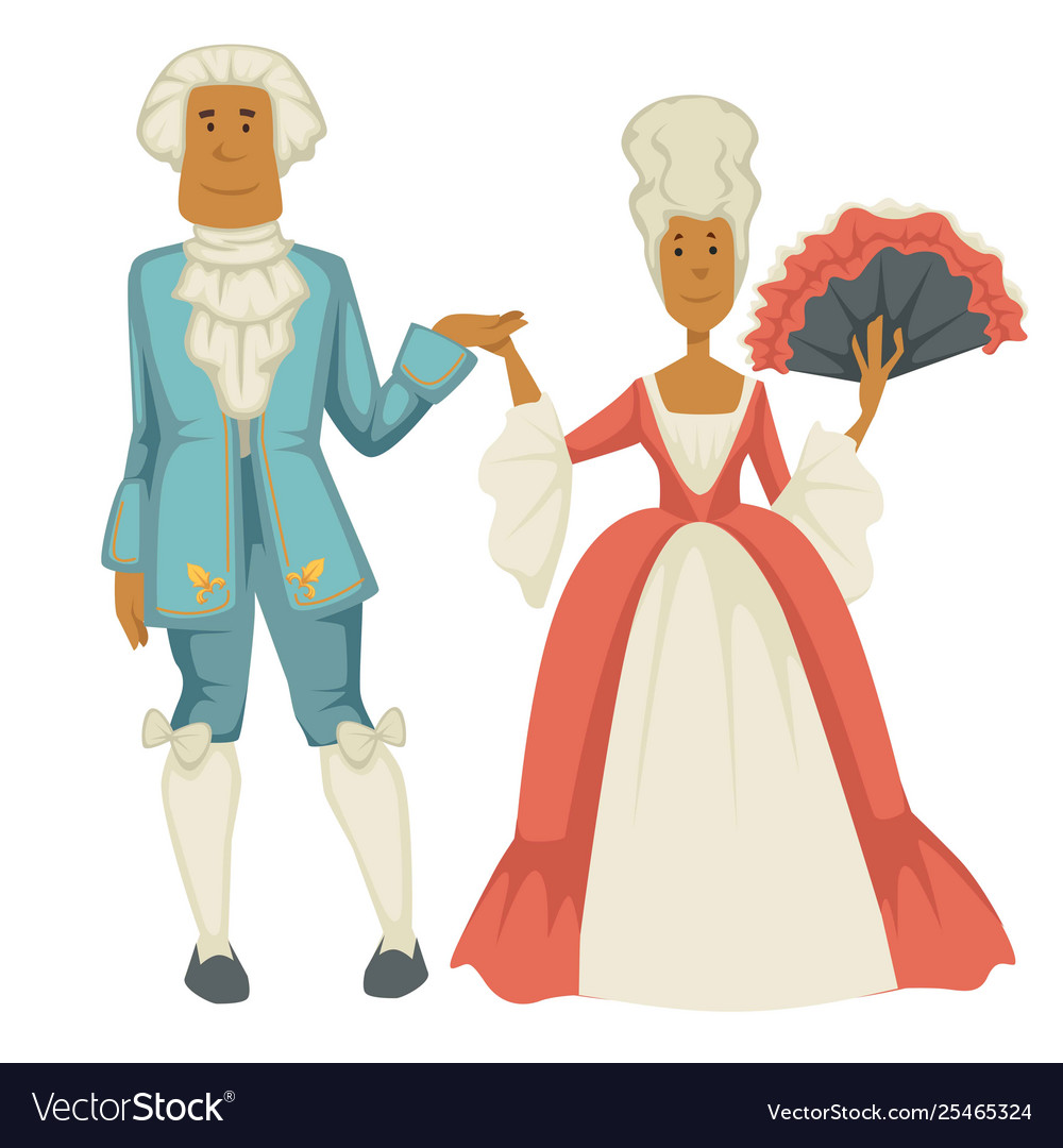Baroque epoch man and woman court dame and