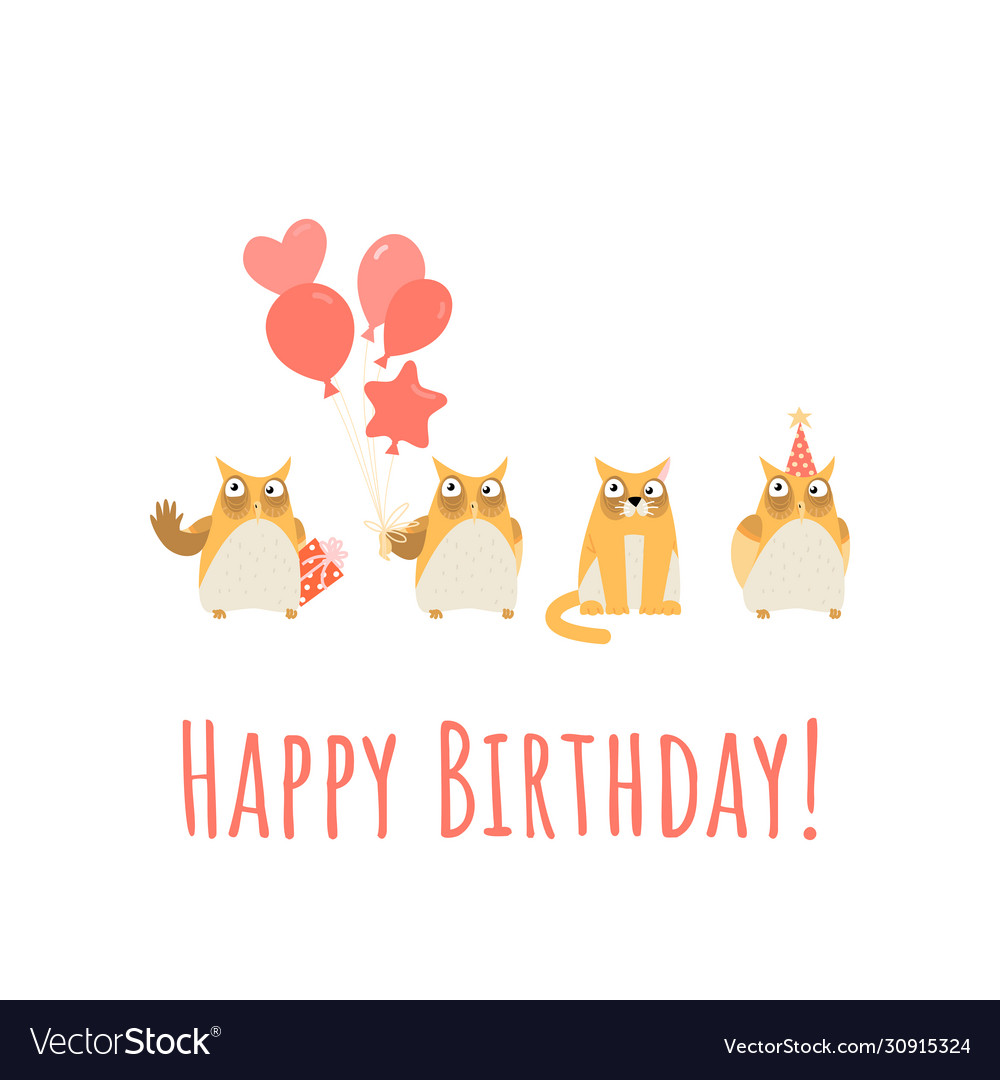 Birthday greeting card with cute owls and cat