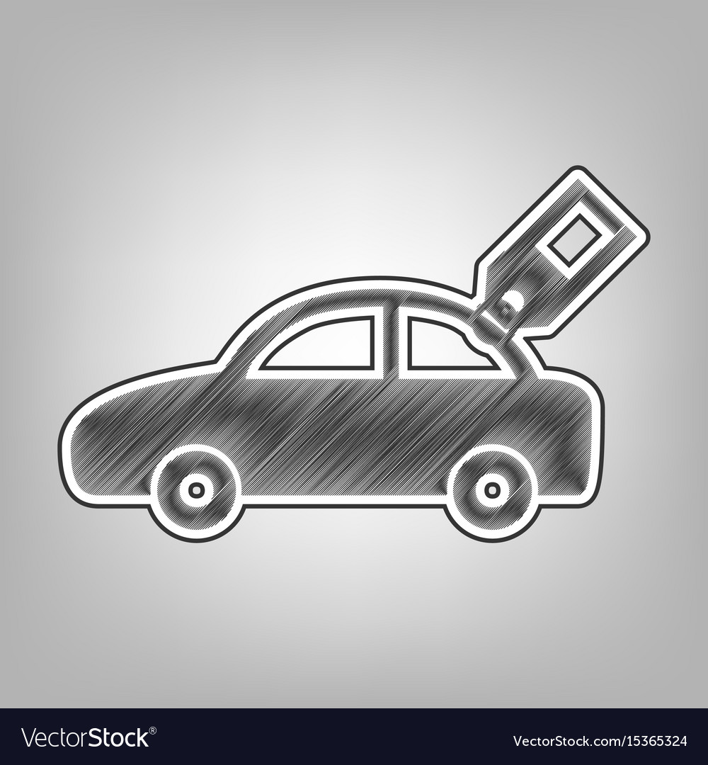 Car sign with tag pencil sketch imitation vector image