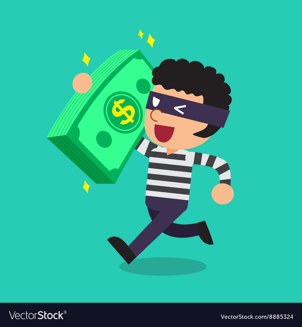 Cartoon a thief carrying big money stack