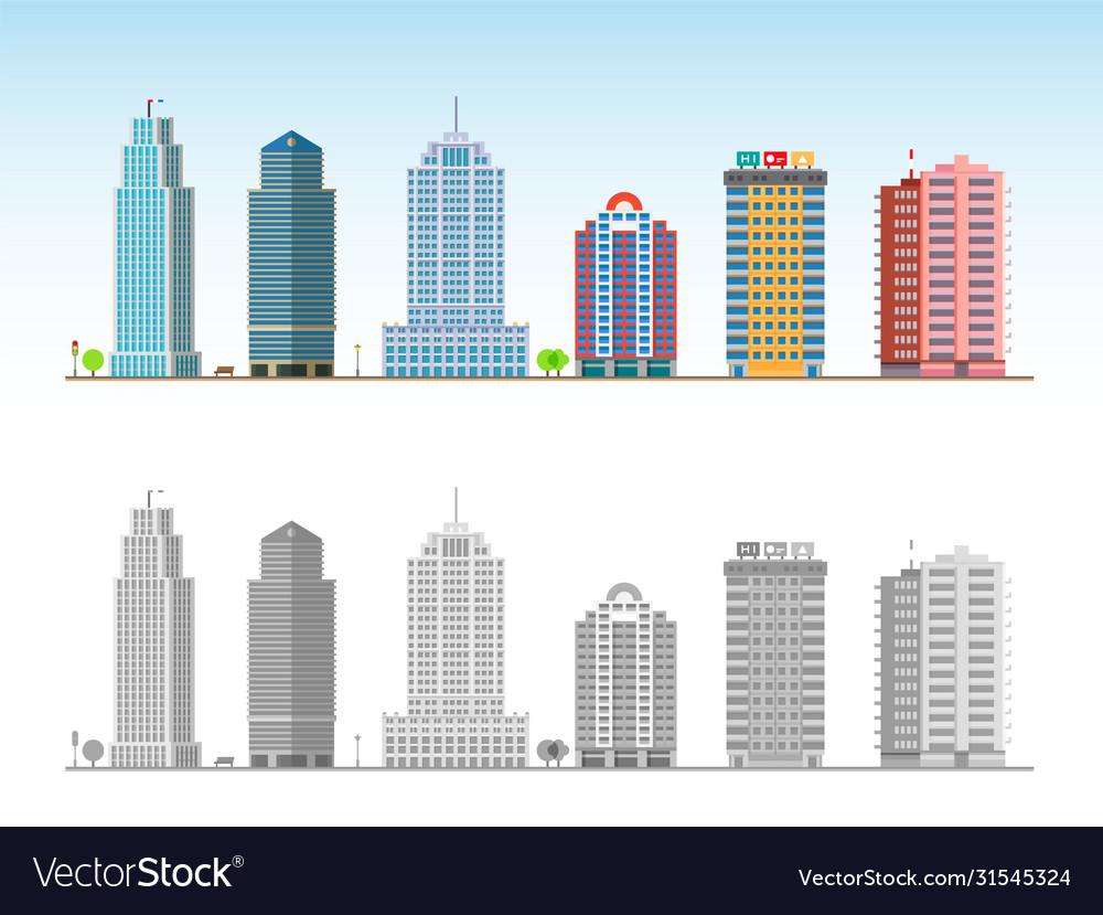 City skyline decorative isolated skyscraper