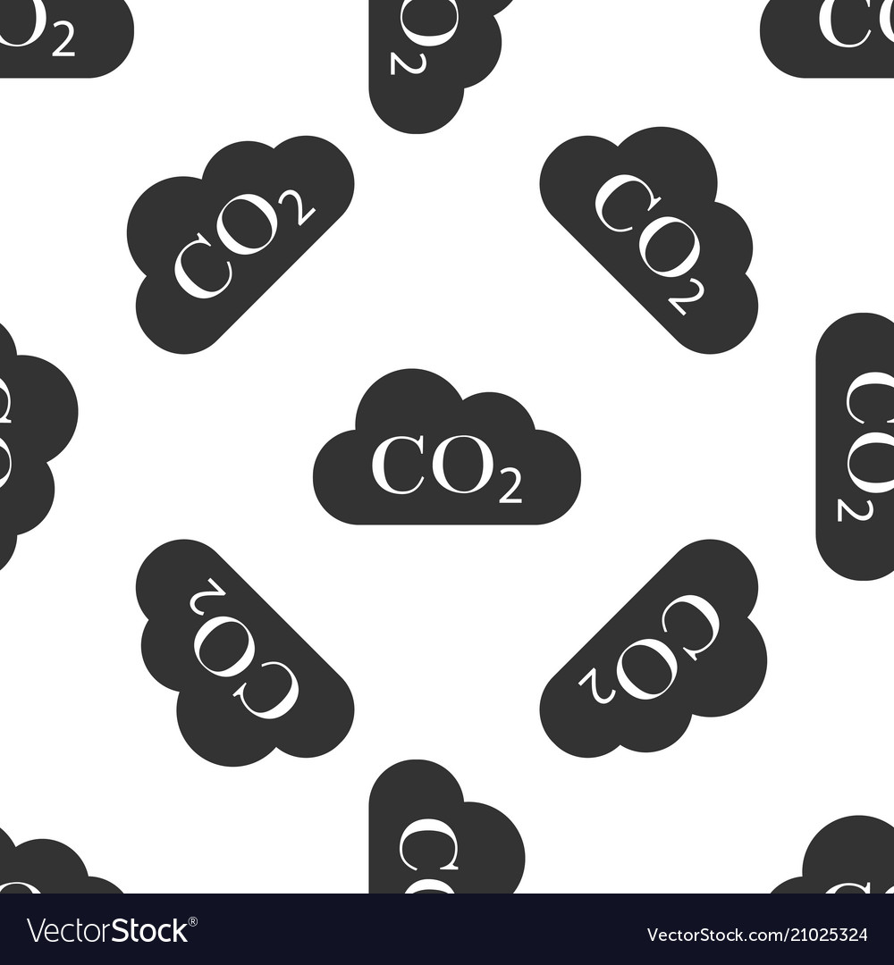 Co2 emissions in cloud icon seamless pattern