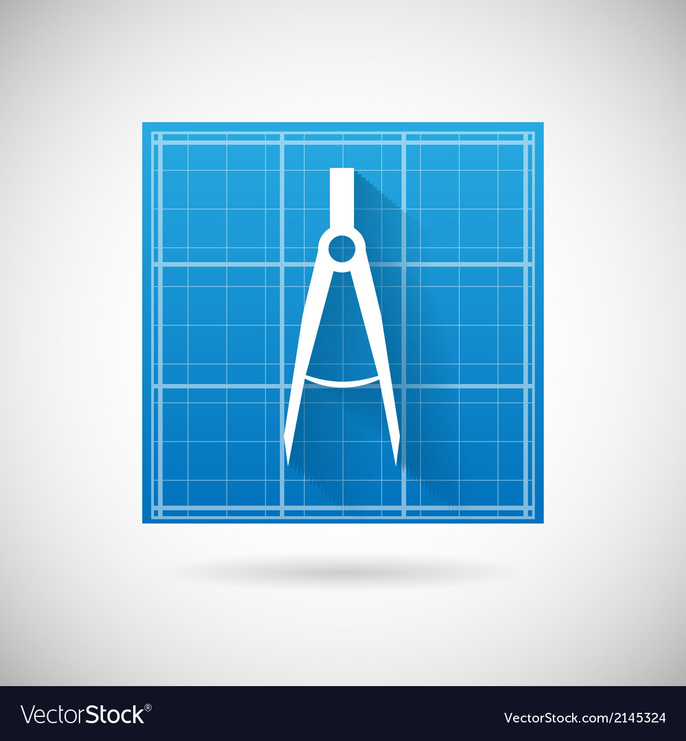 Engineering Planning Symbol Blueprint And Compass Vector Image