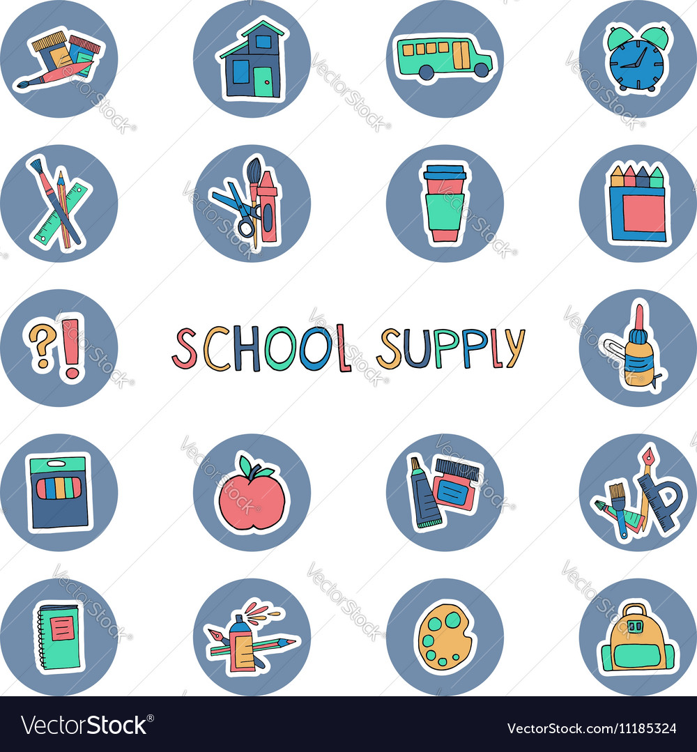 Hand drawn school supply icons Knowledge science