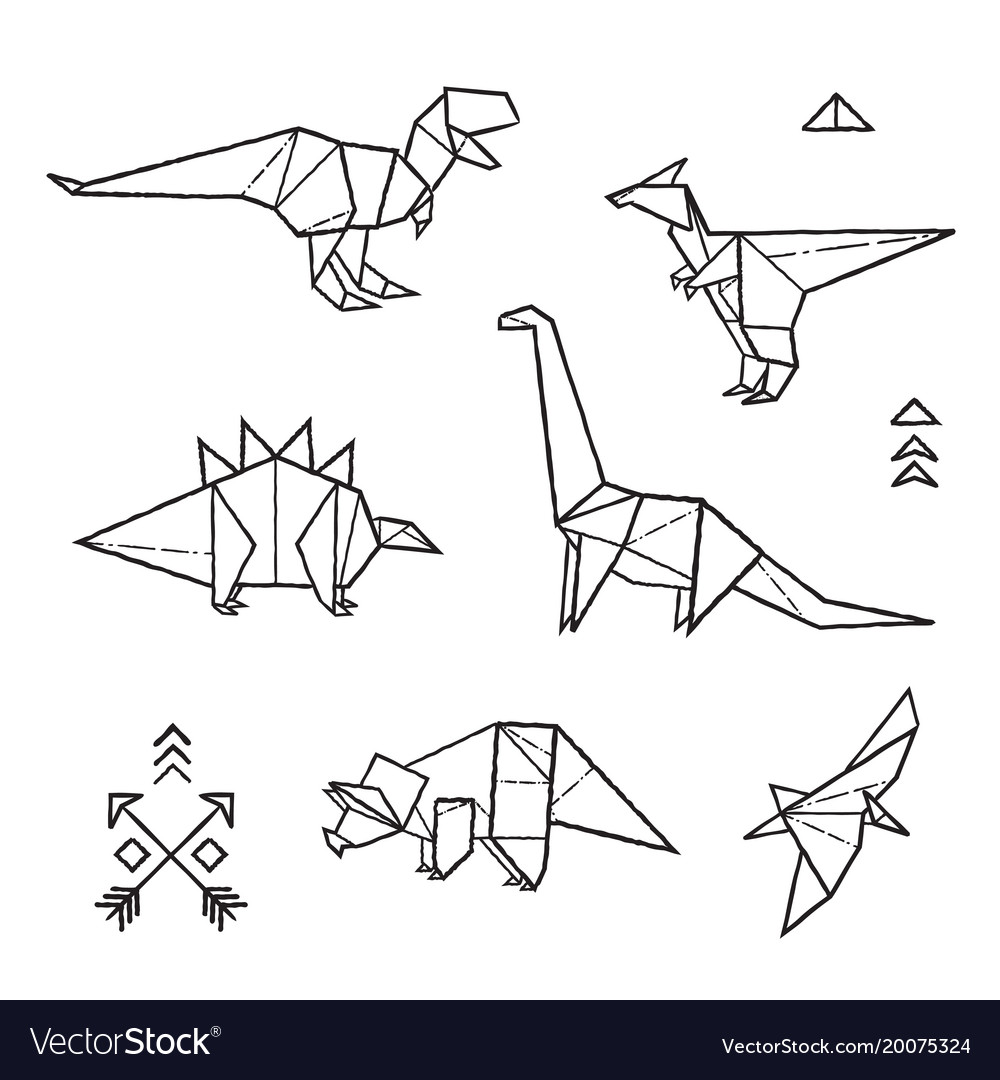 Ink Origami Tattoos Dinosaurs Set Vector Image